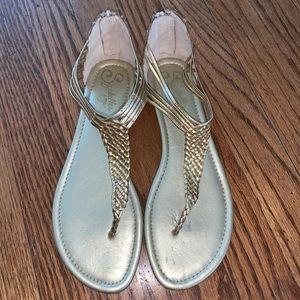Seychelles Gold Metallic Braided Gladiator Sandals